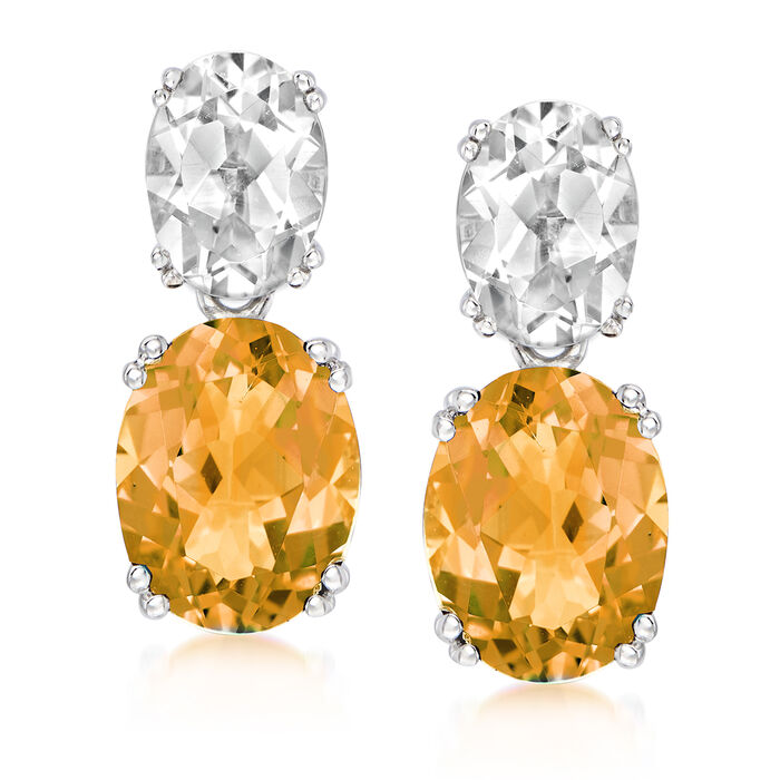 3.40 ct. t.w. Orange Citrine and 2.00 ct. t.w. White Topaz Drop Earrings in Sterling Silver