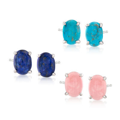 Turquoise, Pink Opal and Lapis Jewelry Set: Stud Earrings in Sterling Silver, , default