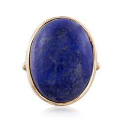 C. 1960 Vintage Lapis Ring in 14kt Yellow Gold. Size 4.75, , default