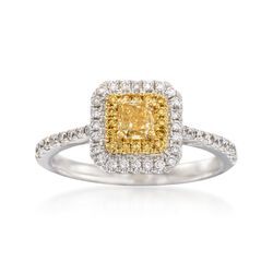 Gregg Ruth .86 ct. t.w. Yellow and White Diamond Ring in 18kt White Gold, , default