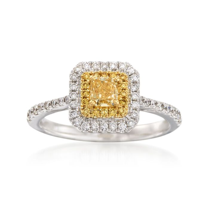 Gregg Ruth .86 ct. t.w. Yellow and White Diamond Ring in 18kt White Gold. Size 7, , default