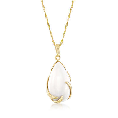 20x11mm White Agate Pendant Necklace in 14kt Yellow Gold, , default