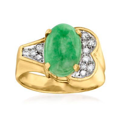 C. 1970 Vintage Jade and .25 ct. t.w. Diamond Ring in 14kt Yellow Gold