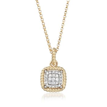 "Roberto Coin ""New Barocco"" .20 ct. t.w. Diamond Square Pendant Necklace in 18kt Yellow Gold. 18"", , default"