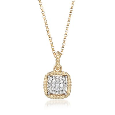 "Roberto Coin ""New Barocco"" .20 ct. t.w. Diamond Square Pendant Necklace in 18kt Yellow Gold, , default"