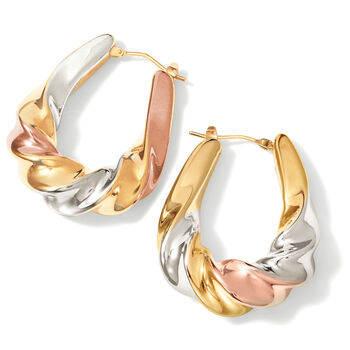 Italian Andiamo 14kt Tri-Colored Gold Scalloped Hoop Earrings. 1 3/8""