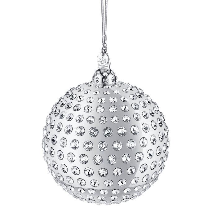 Crystamas Xirius Swarovski Crystal White Rhodium-Plated Ball Ornament, , default