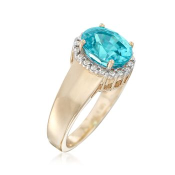 3.60 Carat Blue Zircon and .21 ct. t.w. Diamond Ring in 14kt Yellow Gold, , default