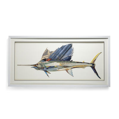 Swordfish Paper Collage Wall Art, , default
