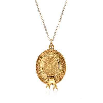 C. 1980 Vintage 14kt Yellow Gold Hat Pendant Necklace, , default