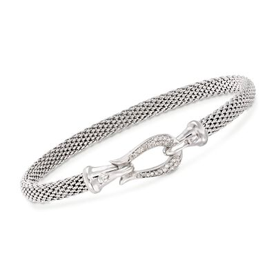 "Phillip Gavriel ""Popcorn"" .13 ct. t.w. Diamond Horseshoe Hook Bracelet in Sterling Silver"