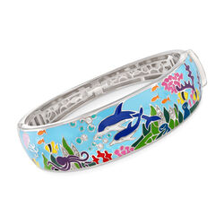 "Belle Etoile ""Dolphin"" Blue and Multicolored Enamel Bangle Bracelet With .15 ct. t.w. CZs in Sterling Silver, , default"