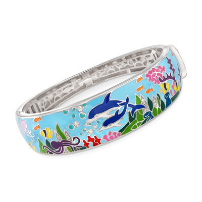"""Belle Etoile """"Dolphin"""" Blue and Multicolored Enamel Bangle Bracelet With .15 ct. t.w. CZs in Sterling Silver, , default"""