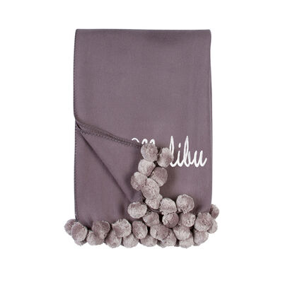 Steel and Dove Grey Pom Pom Throw Blanket, , default
