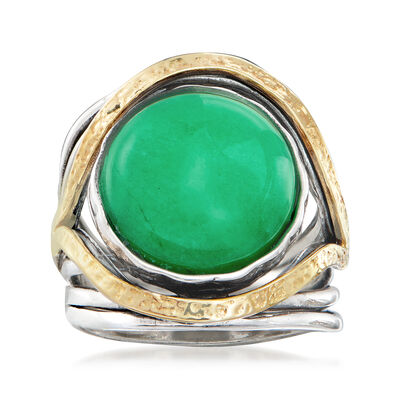 Jade Cabochon Ring in Sterling Silver with 14kt Yellow Gold