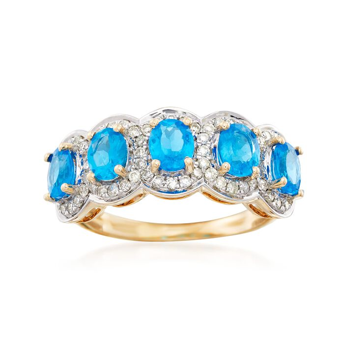 1.70 ct. t.w. Blue Apatite Five-Stone Ring with .39 ct. t.w. Diamonds in 14kt Yellow Gold, , default
