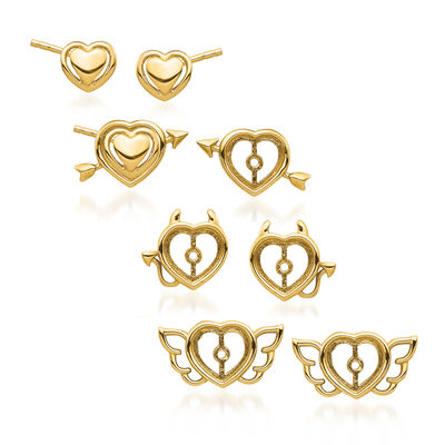 14kt Yellow Gold Jewelry: One Pair Heart Stud Earrings and Three Sets of Earring Jackets