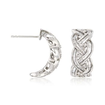 ".75 ct. t.w. Round and Baguette Diamond Braided Hoop Earrings in 14kt White Gold. 5/8"", , default"