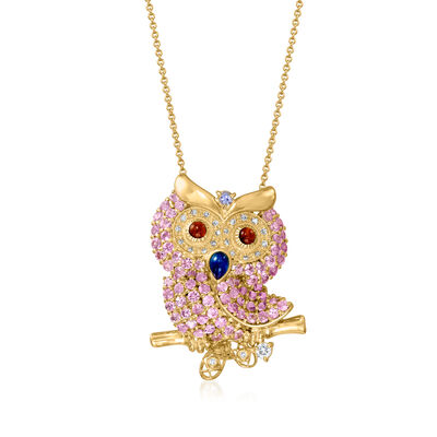 C. 2000 Vintage 2.32 ct. t.w. Multi-Gemstone and .15 ct. t.w. Diamond Owl Pendant Necklace in 18kt Yellow Gold