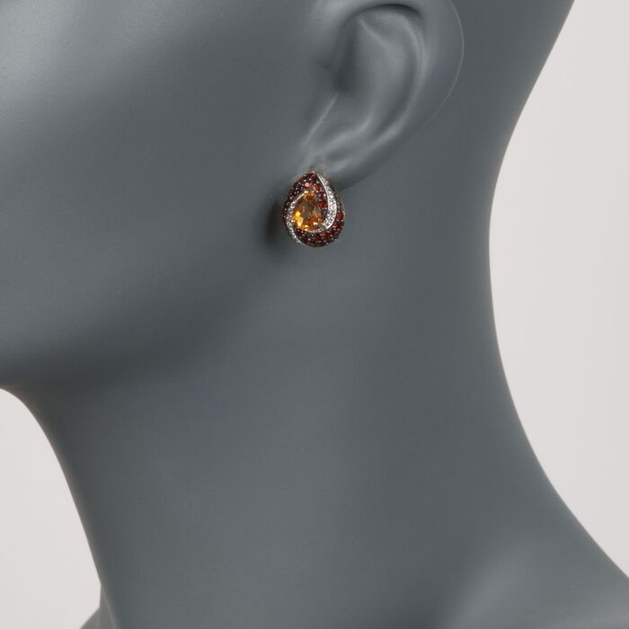 2.30 ct. t.w. Citrine and 1.20 ct. t.w. Garnet Earrings with Diamonds in 18kt Gold Over Sterling