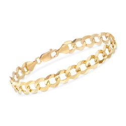 Men's 10mm 14kt Yellow Gold Faceted Curb-Link Chain Bracelet, , default