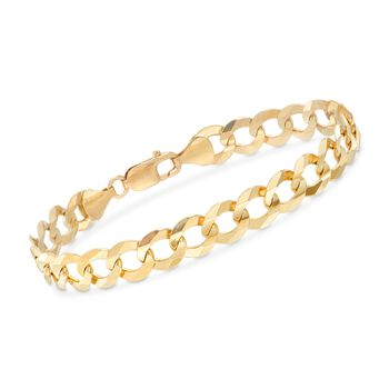 "Men's 10mm 14kt Yellow Gold Faceted Curb-Link Chain Bracelet. 8.5"", , default"