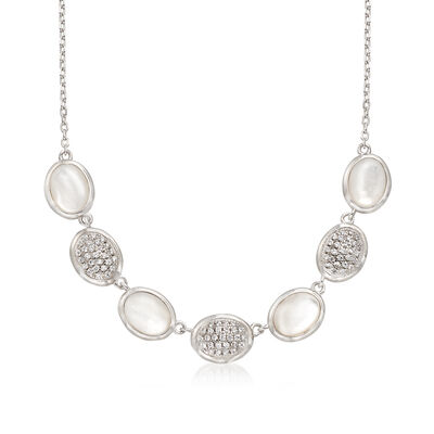 Mother-Of-Pearl and .60 ct. t.w. Pave CZ Oval Necklace in Sterling Silver, , default