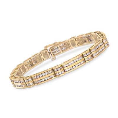 C. 1980 Vintage .90 ct. t.w. Diamond Double Row Bracelet in 14kt Yellow Gold, , default