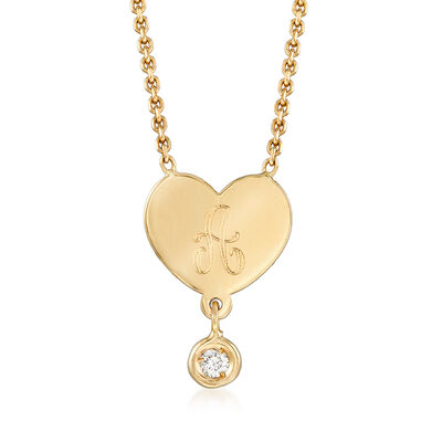 14kt Yellow Gold Single Initial Heart Necklace with Diamond Accent, , default