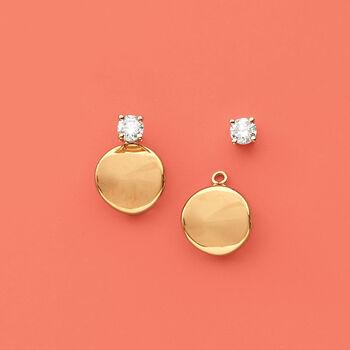 14kt Yellow Gold Concave Petite Disc Drop Earring Jackets , , default