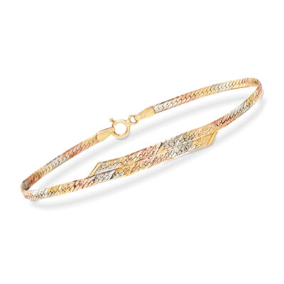 C. 1990 Vintage 14kt Yellow Gold Herringbone Bracelet, , default