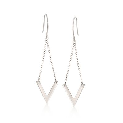 Sterling Silver Chevron Chain Drop Earrings, , default