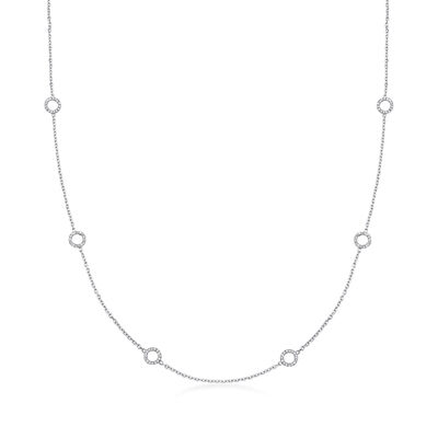 C. 1990 Vintage .75 ct. t.w. Diamond Circle Station Necklace in 14kt White Gold, , default