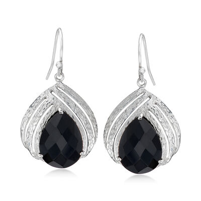 Black Onyx Open-Space Drop Earrings in Sterling Silver