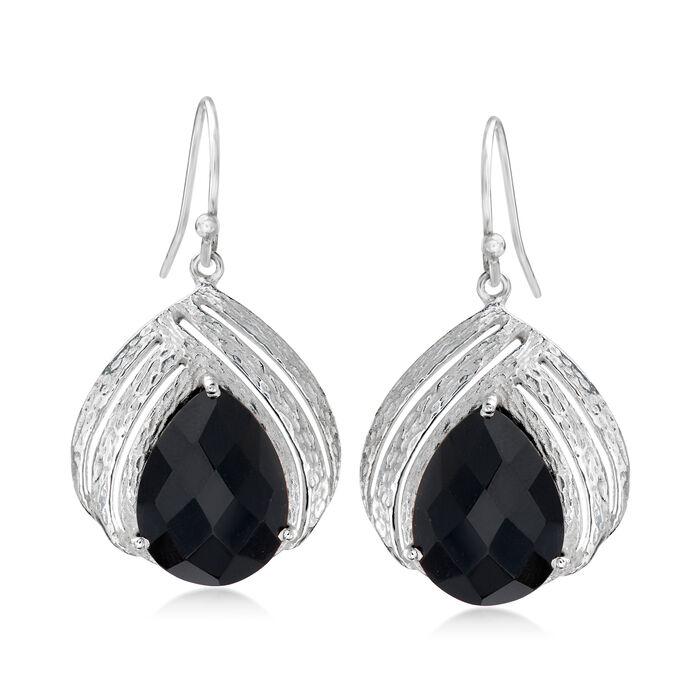 Black Onyx Open-Space Drop Earrings in Sterling Silver