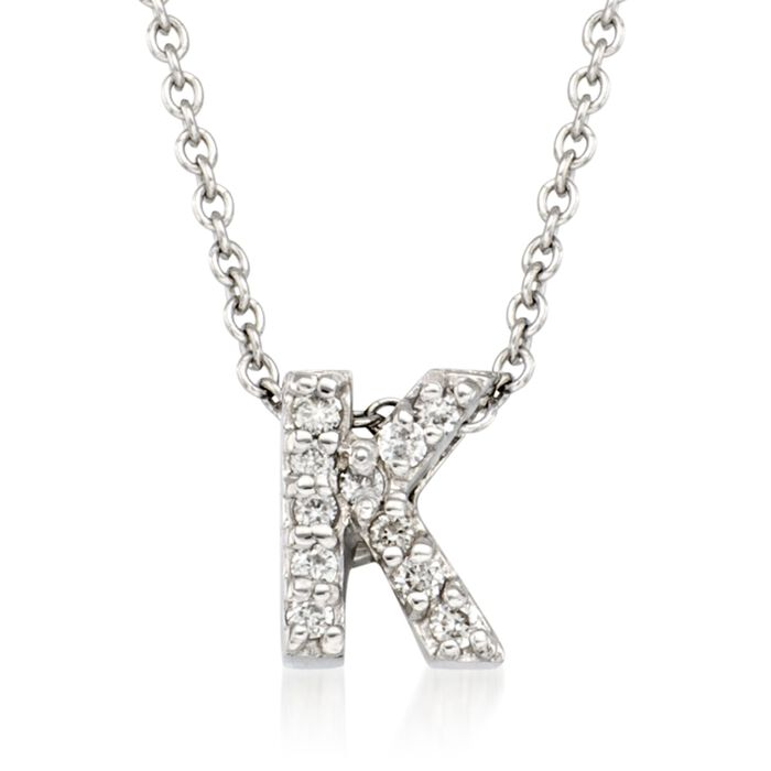 "Roberto Coin ""Love Letter"" Diamond Accent Initial ""K"" Necklace in 18kt White Gold. 16"", , default"