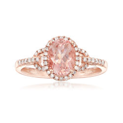 1.20 Carat Morganite and .21 ct. t.w. Diamond Ring in 14kt Rose Gold, , default