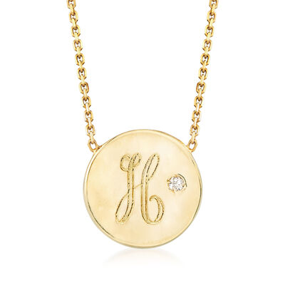 Italian Diamond-Accented Disc Necklace in 14kt Yellow Gold, , default
