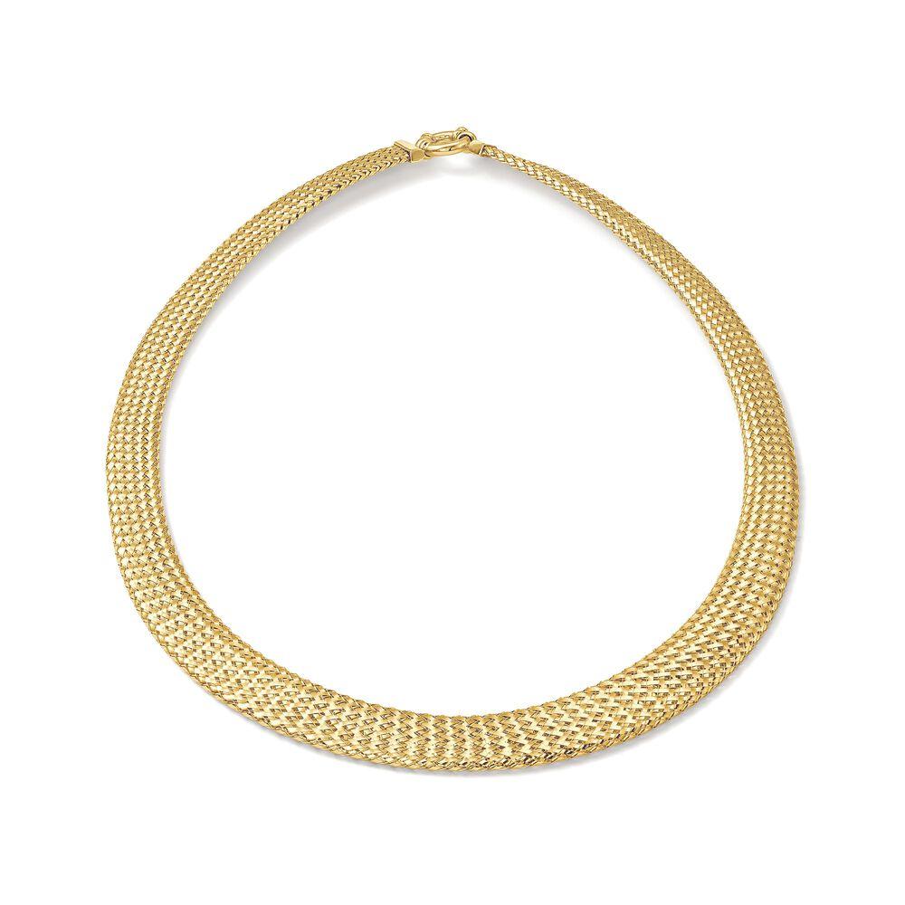 e44a077a151c3 Italian 18kt Yellow Gold Graduated Mesh Omega Necklace | Ross-Simons