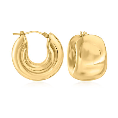 Italian Andiamo 14kt Yellow Gold Over Resin Wide Huggie Hoop Earrings