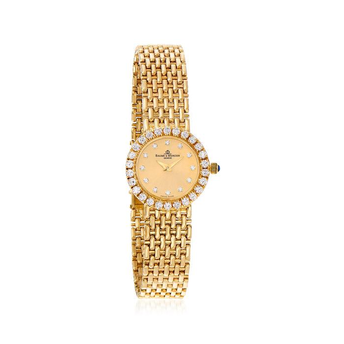 C. 1990 Vintage Baume & Mercier Women's 21mm 1.05 ct. t.w. Diamond Watch in 18kt Yellow Gold. Size 7