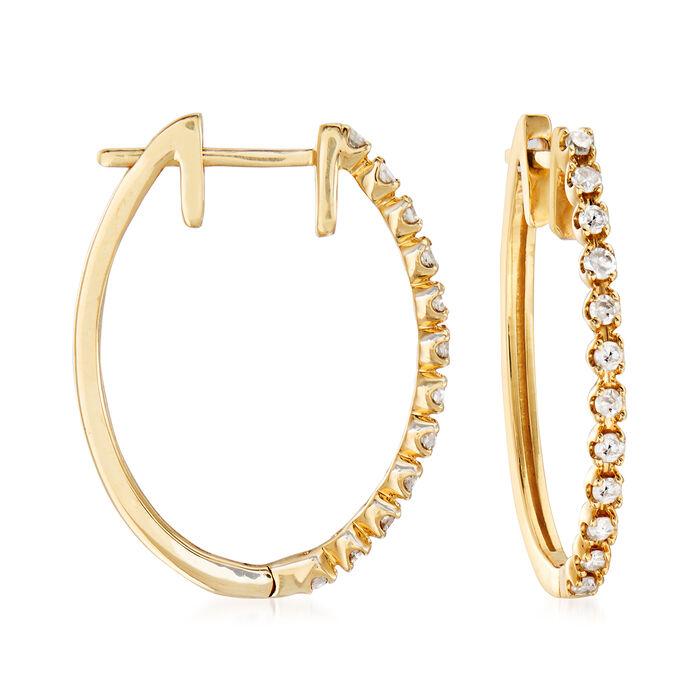""".25 ct. t.w. Diamond Hoop Earrings in 14kt Yellow Gold. 3/4"""", , default"""