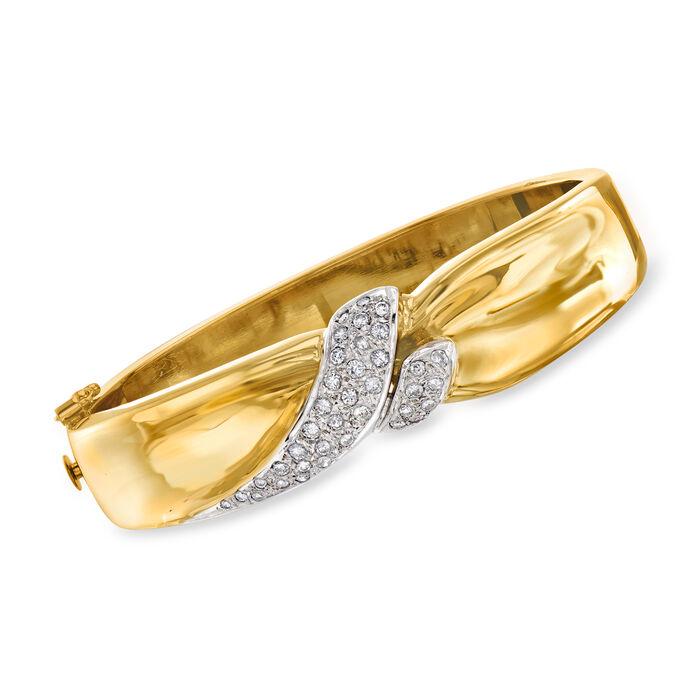 "C. 1980 Vintage 1.00 ct. t.w. Diamond Center Bangle Bracelet in 14kt Two-Tone Gold. 7"""