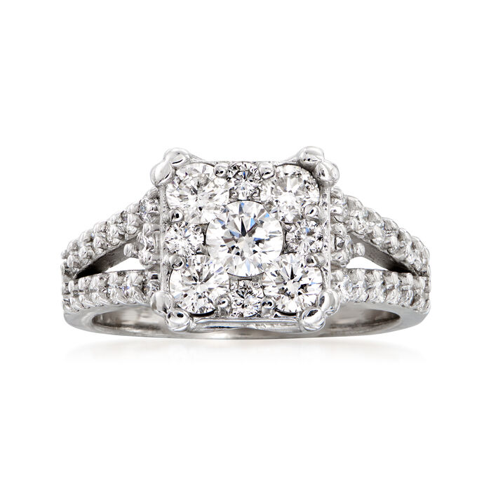 C. 2000 Vintage 1.55 ct. t.w. Diamond Ring in 14kt White Gold. Size 6.25