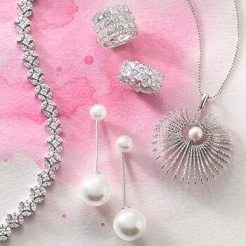 8-16mm Shell Pearl Jewelry Set: Earrings and Front-Back Jackets in Sterling Silver, , default