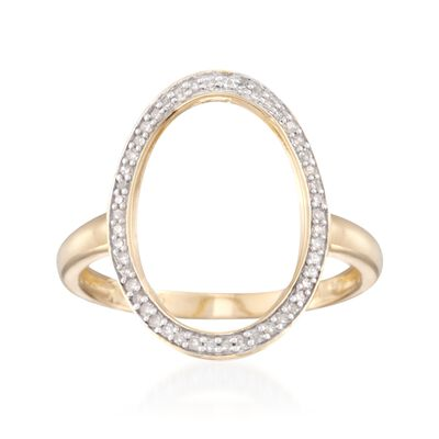 .15 ct. t.w. Oval Diamond Ring in 18kt Gold Over Sterling, , default