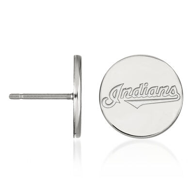 Sterling Silver MLB Cleveland Indians Small Disc Earrings, , default