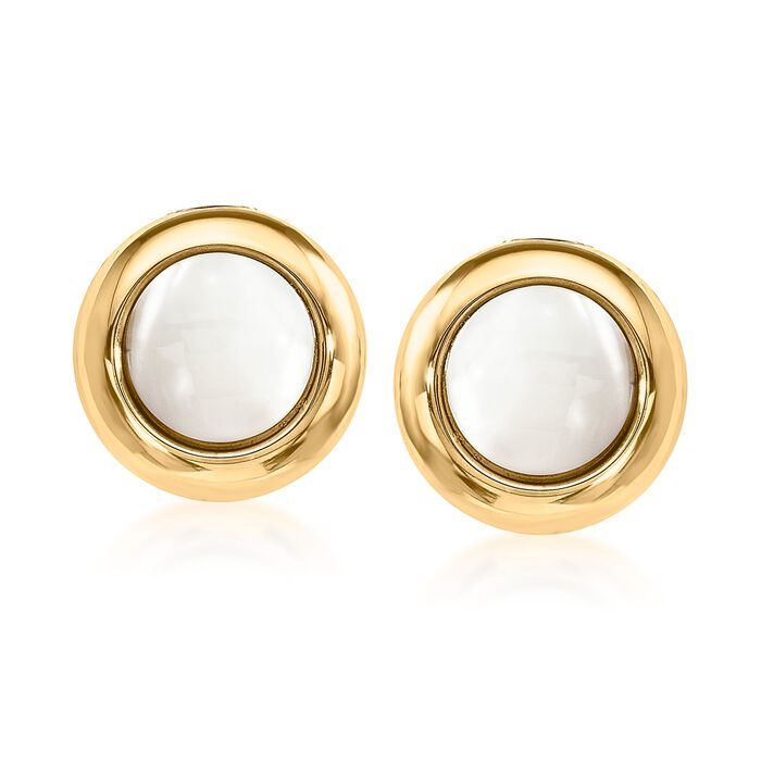 12mm Mother-Of-Pearl Clip-On Earrings in 14kt Yellow Gold, , default