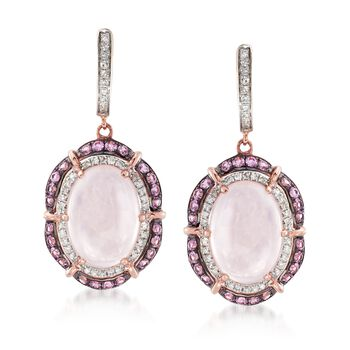 10.00 ct. t.w. Rose Quartz and 1.00 ct. t.w. Pink Sapphire Drop Earrings With Diamonds in 14kt Rose Gold , , default