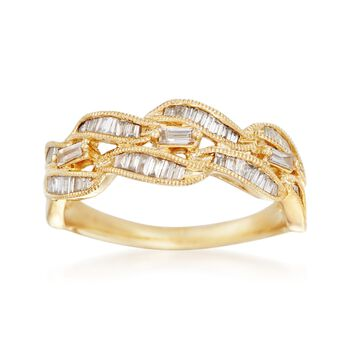 .41 ct. t.w. Baguette Diamond Wave Ring in 14kt Yellow Gold, , default